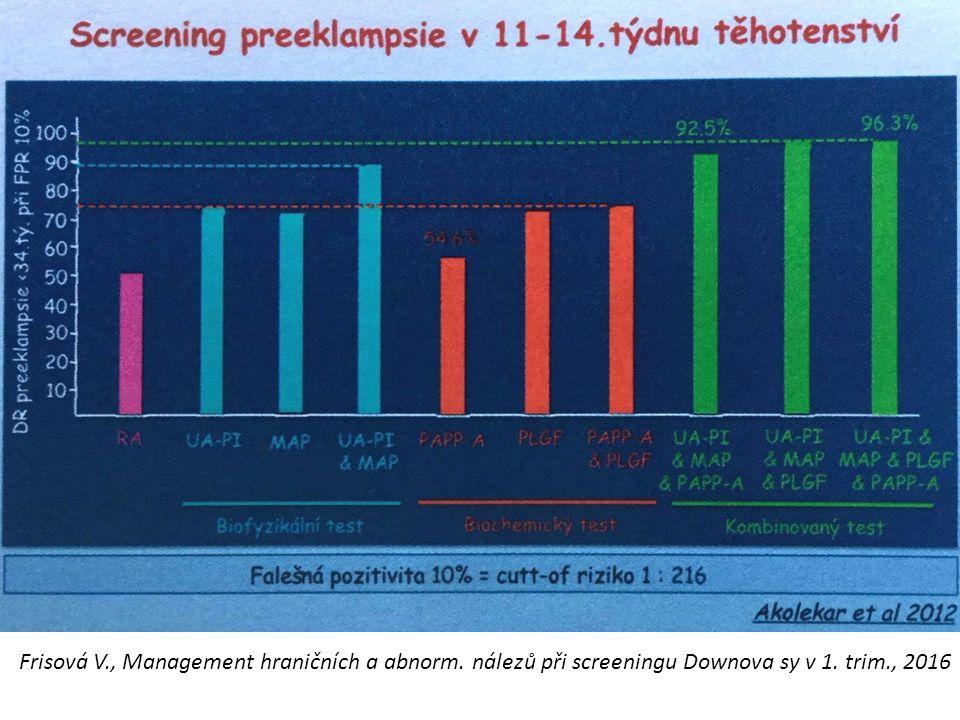 Frisová V., Management hraničních a abnorm. nálezů při screeningu Downova sy v 1. trim., 2016