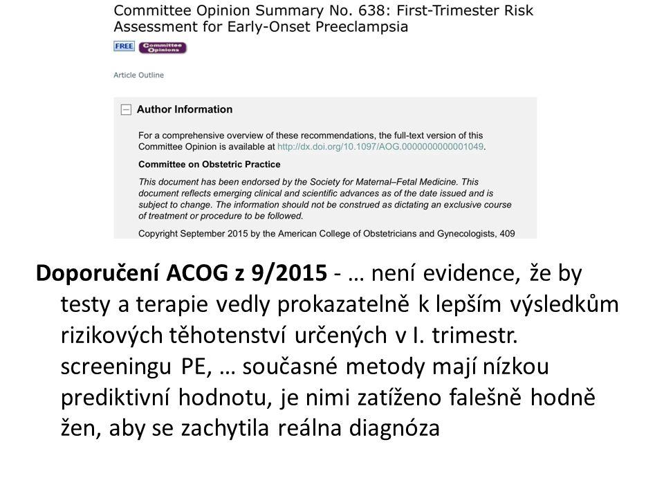 Doporučení ACOG z 9/2015 - … není evidence, že by testy a terapie vedly prokazatelně k lepším výsledkům rizikových těhotenství určených v I.