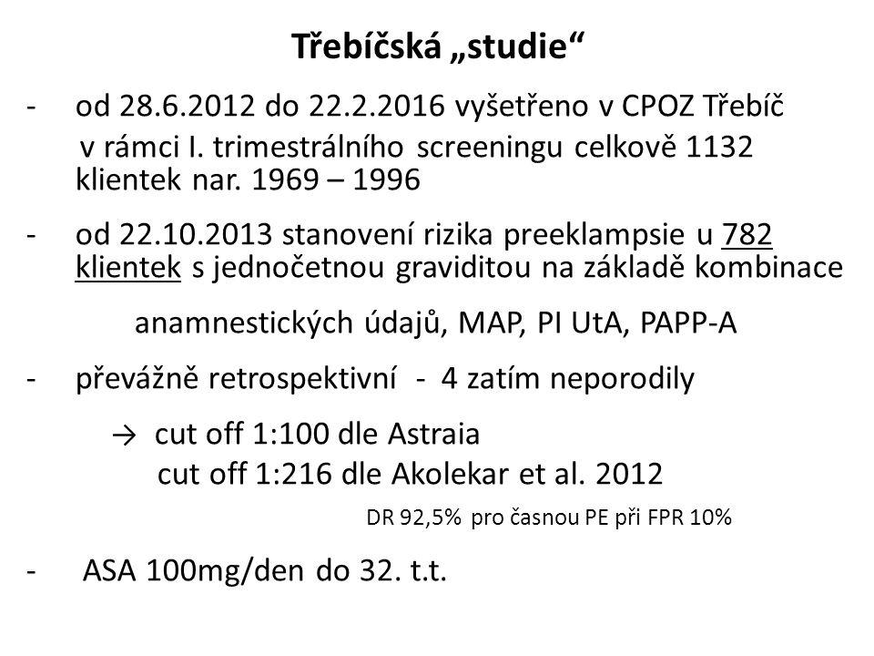 """Třebíčská """"studie -od 28.6.2012 do 22.2.2016 vyšetřeno v CPOZ Třebíč v rámci I."""