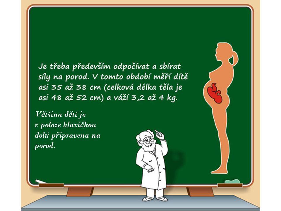 V ě tšina d ě tí je v poloze hlavi č kou dol ů p ř ipravena na porod.