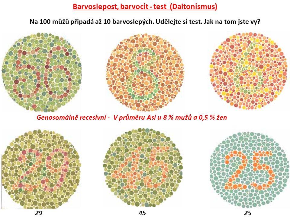 Barvoslepost, barvocit - test (Daltonismus) Genosomálně recesivní - V průměru Asi u 8 % mužů a 0,5 % žen 29 45 25 Na 100 můžů připadá až 10 barvoslepý