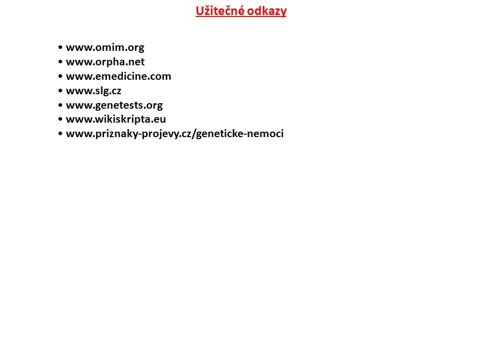 Užitečné odkazy www.omim.org www.orpha.net www.emedicine.com www.slg.cz www.genetests.org www.wikiskripta.eu www.priznaky-projevy.cz/geneticke-nemoci