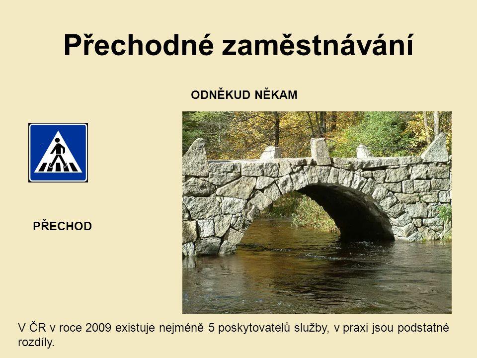 Přechodné zaměstnávání PŘECHOD ODNĚKUD NĚKAM V ČR v roce 2009 existuje nejméně 5 poskytovatelů služby, v praxi jsou podstatné rozdíly.
