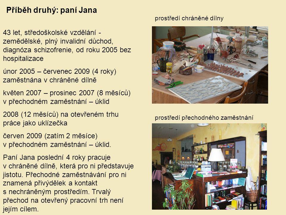 Příběh druhý: paní Jana 43 let, středoškolské vzdělání - zemědělské, plný invalidní důchod, diagnóza schizofrenie, od roku 2005 bez hospitalizace únor