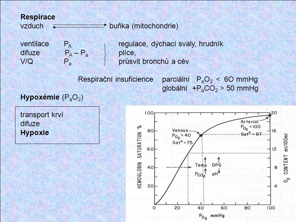 Respirace vzduch buňka (mitochondrie) ventilace P A regulace, dýchací svaly, hrudník difuze P A – P a plíce, V/Q P a průsvit bronchů a cév Respirační insuficience parciální P a O 2 < 6O mmHg globální +P a CO 2 > 50 mmHg Hypoxémie (P a O 2 ) transport krví difuze Hypoxie
