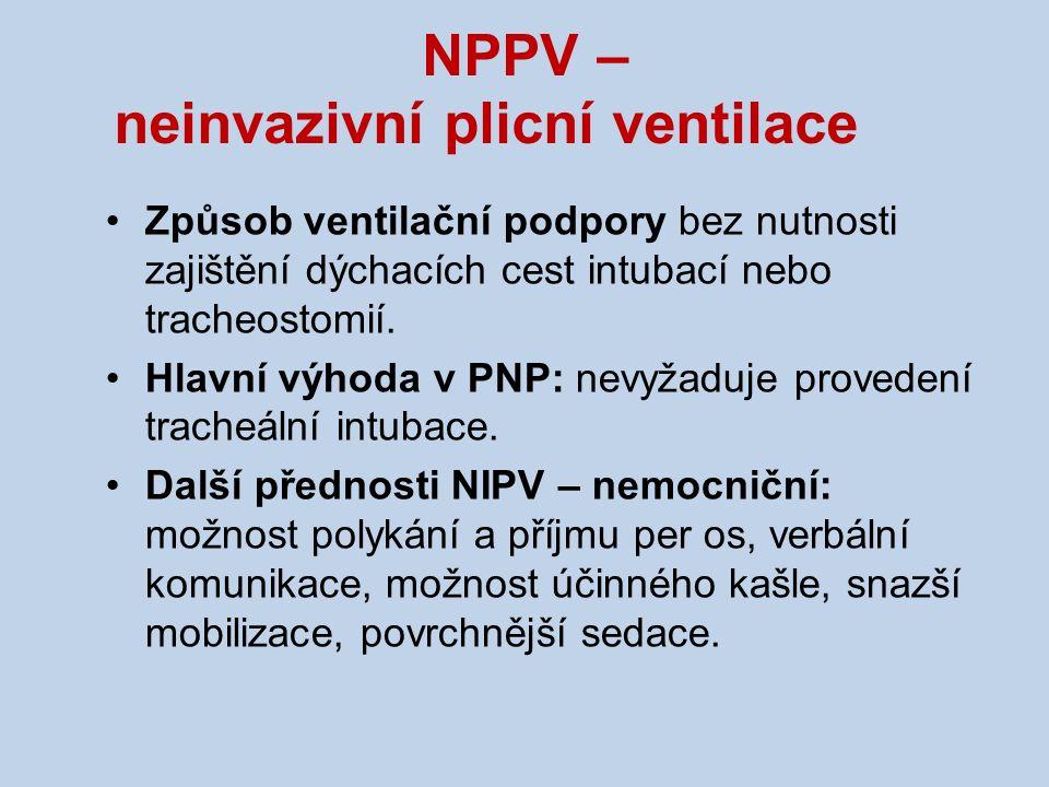 NPPV – neinvazivní plicní ventilace Způsob ventilační podpory bez nutnosti zajištění dýchacích cest intubací nebo tracheostomií. Hlavní výhoda v PNP: