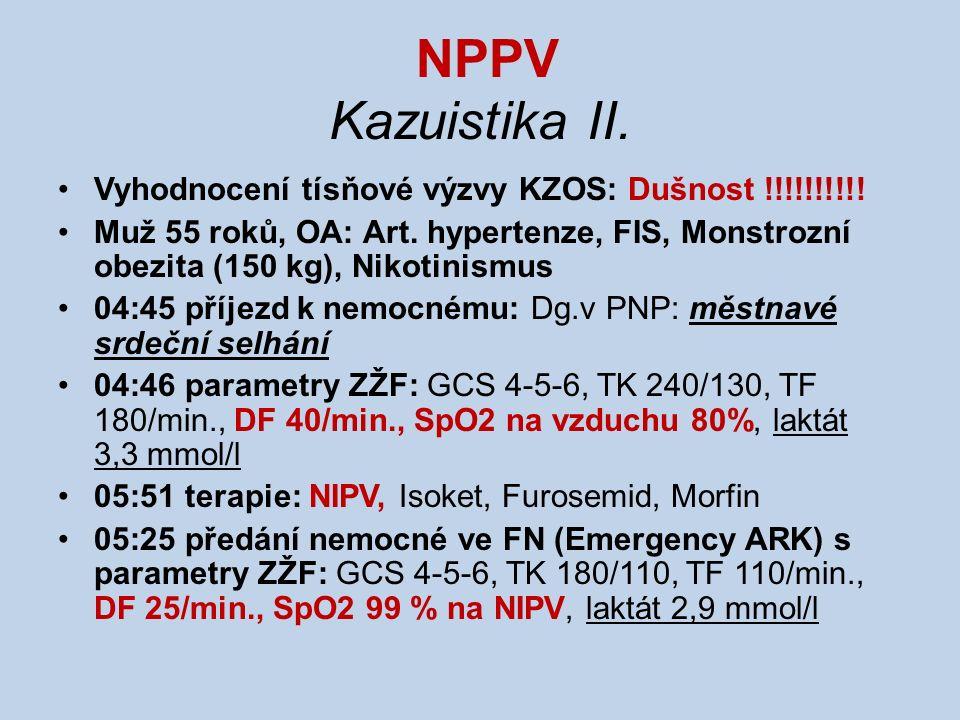 NPPV Kazuistika II. Vyhodnocení tísňové výzvy KZOS: Dušnost !!!!!!!!!! Muž 55 roků, OA: Art. hypertenze, FIS, Monstrozní obezita (150 kg), Nikotinismu