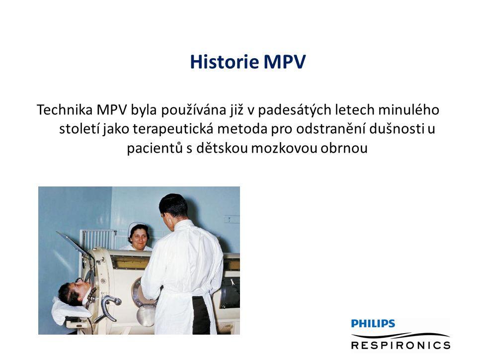 Historie MPV Technika MPV byla používána již v padesátých letech minulého století jako terapeutická metoda pro odstranění dušnosti u pacientů s dětskou mozkovou obrnou
