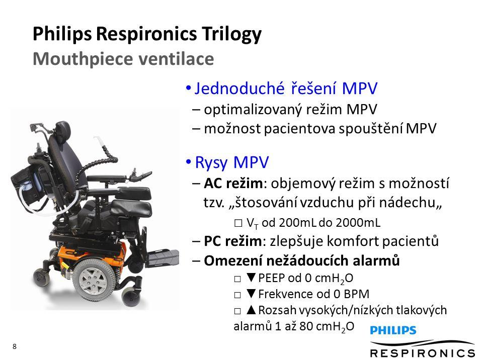 8 Jednoduché řešení MPV – optimalizovaný režim MPV – možnost pacientova spouštění MPV Rysy MPV – AC režim: objemový režim s možností tzv.