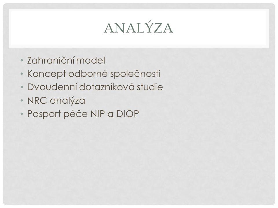 ANALÝZA Zahraniční model Koncept odborné společnosti Dvoudenní dotazníková studie NRC analýza Pasport péče NIP a DIOP