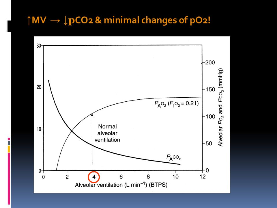 ↑ MV → ↓ p CO2 & minimal changes of pO2!