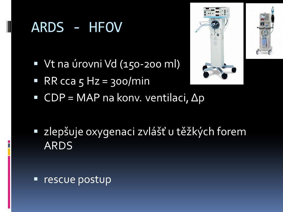 ARDS - HFOV  Vt na úrovni Vd (150-200 ml)  RR cca 5 Hz = 300/min  CDP = MAP na konv. ventilaci, Δp  zlepšuje oxygenaci zvlášť u těžkých forem ARDS