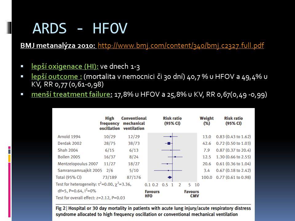 ARDS - HFOV BMJ metanalýza 2010: http://www.bmj.com/content/340/bmj.c2327.full.pdf http://www.bmj.com/content/340/bmj.c2327.full.pdf  lepší oxigenace (HI): ve dnech 1-3  lepší outcome : (mortalita v nemocnici či 30 dní) 40,7 % u HFOV a 49,4% u KV, RR 0,77 (0,61-0,98)  menší treatment failure: 17,8% u HFOV a 25,8% u KV, RR 0,67(0,49 -0,99)