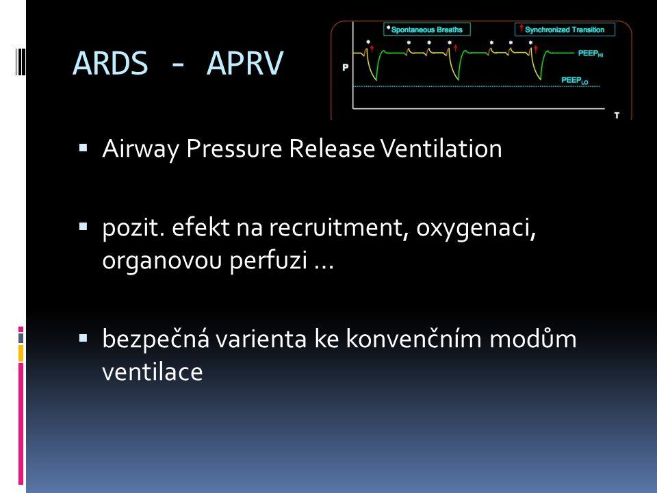 ARDS - APRV  Airway Pressure Release Ventilation  pozit. efekt na recruitment, oxygenaci, organovou perfuzi …  bezpečná varienta ke konvenčním modů