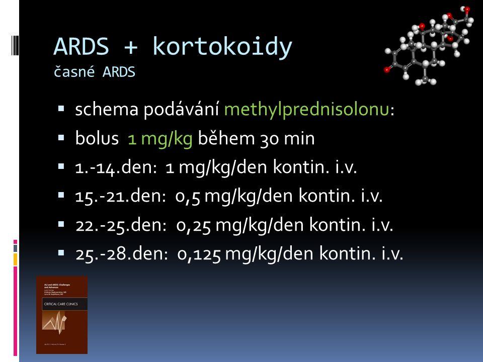 ARDS + kortokoidy časné ARDS  schema podávání methylprednisolonu:  bolus 1 mg/kg během 30 min  1.-14.den: 1 mg/kg/den kontin. i.v.  15.-21.den: 0,