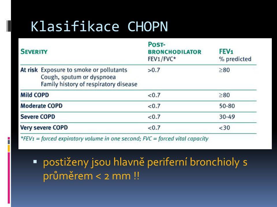 Klasifikace CHOPN  postiženy jsou hlavně periferní bronchioly s průměrem < 2 mm !!