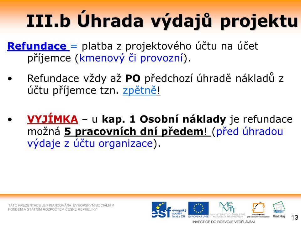 III.b Úhrada výdajů projektu Refundace Refundace = platba z projektového účtu na účet příjemce (kmenový či provozní). Refundace vždy až PO předchozí ú