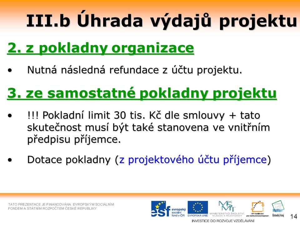 III.b Úhrada výdajů projektu 2. z pokladny organizace Nutná následná refundace z účtu projektu.Nutná následná refundace z účtu projektu. 3. ze samosta