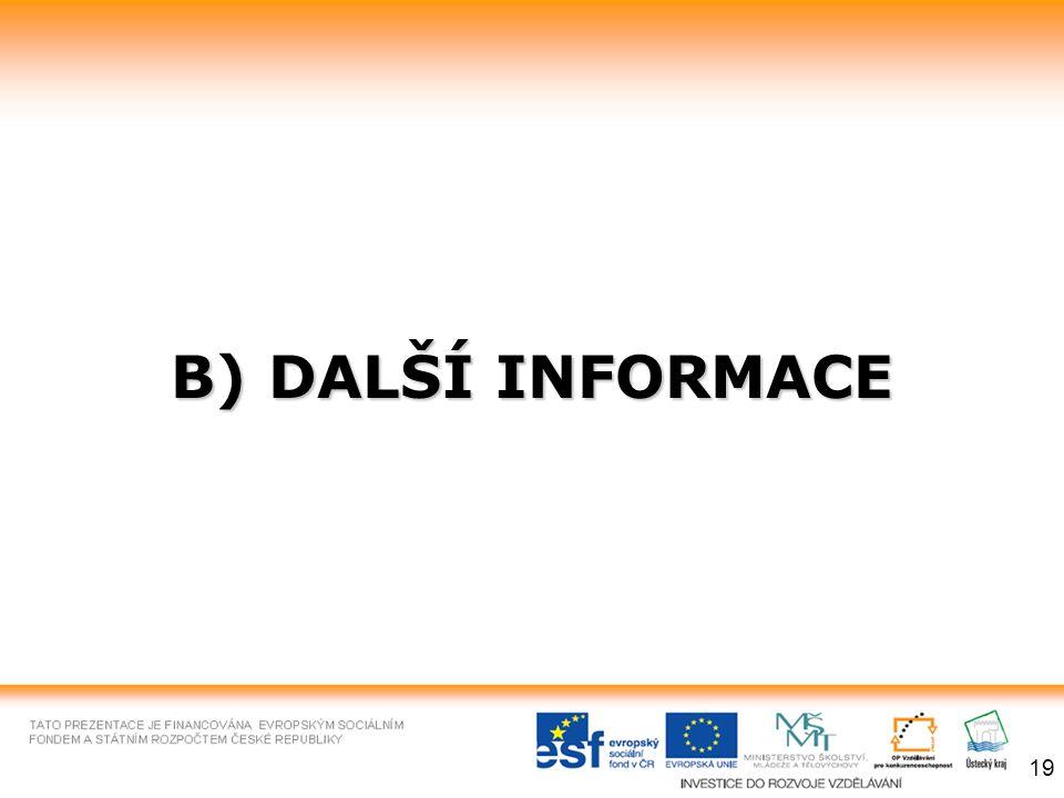 B) DALŠÍ INFORMACE 19