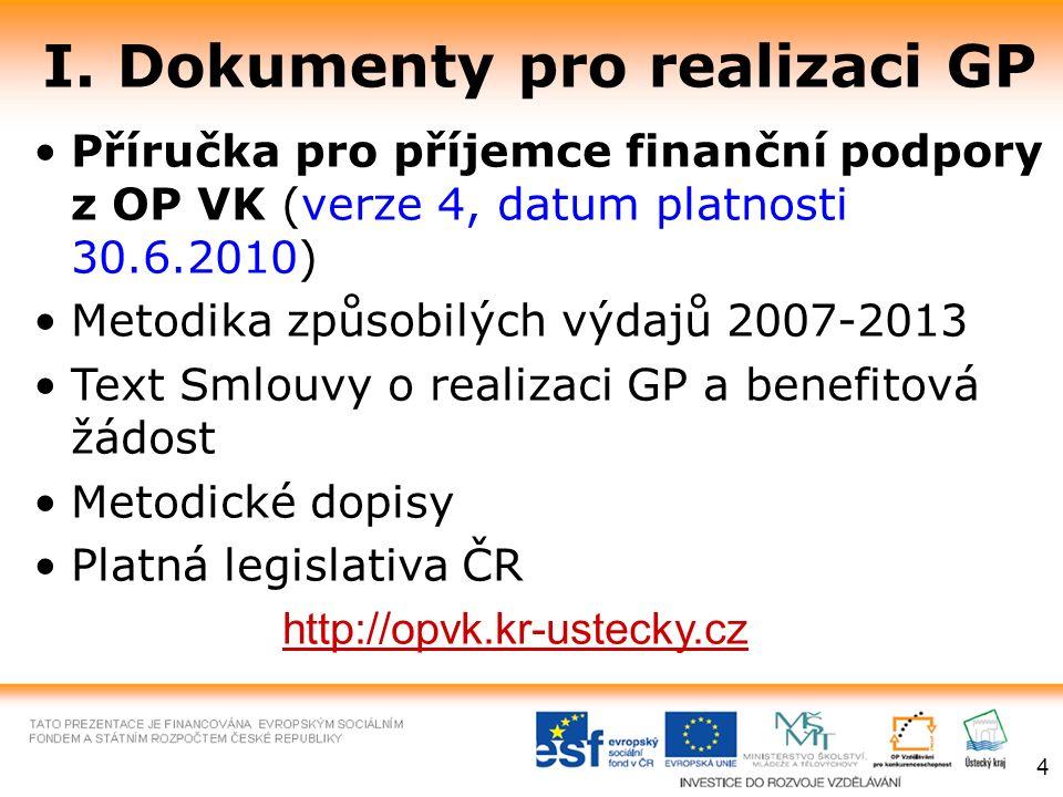 I. Dokumenty pro realizaci GP Příručka pro příjemce finanční podpory z OP VK (verze 4, datum platnosti 30.6.2010) Metodika způsobilých výdajů 2007-201