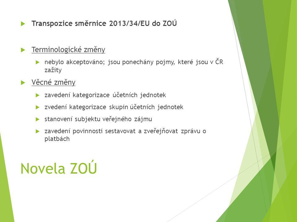 Novela ZOÚ  Transpozice směrnice 2013/34/EU do ZOÚ  Terminologické změny  nebylo akceptováno; jsou ponechány pojmy, které jsou v ČR zažity  Věcné změny  zavedení kategorizace účetních jednotek  zvedení kategorizace skupin účetních jednotek  stanovení subjektu veřejného zájmu  zavedení povinnosti sestavovat a zveřejňovat zprávu o platbách
