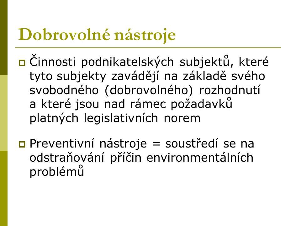 Dobrovolné nástroje  Činnosti podnikatelských subjektů, které tyto subjekty zavádějí na základě svého svobodného (dobrovolného) rozhodnutí a které jsou nad rámec požadavků platných legislativních norem  Preventivní nástroje = soustředí se na odstraňování příčin environmentálních problémů