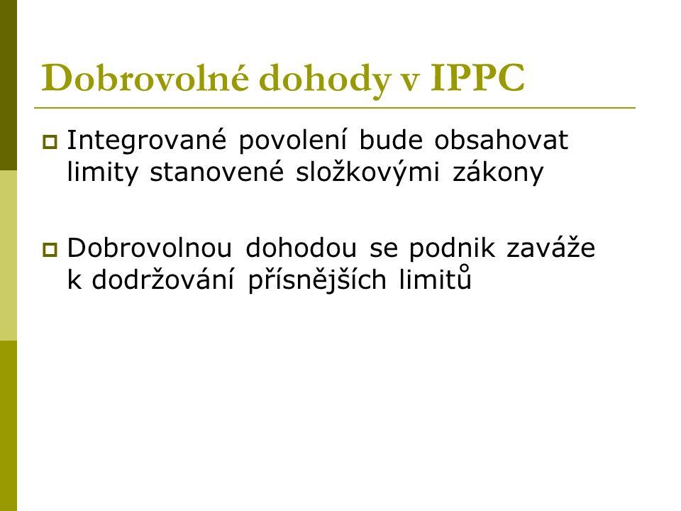 Dobrovolné dohody v IPPC  Integrované povolení bude obsahovat limity stanovené složkovými zákony  Dobrovolnou dohodou se podnik zaváže k dodržování přísnějších limitů