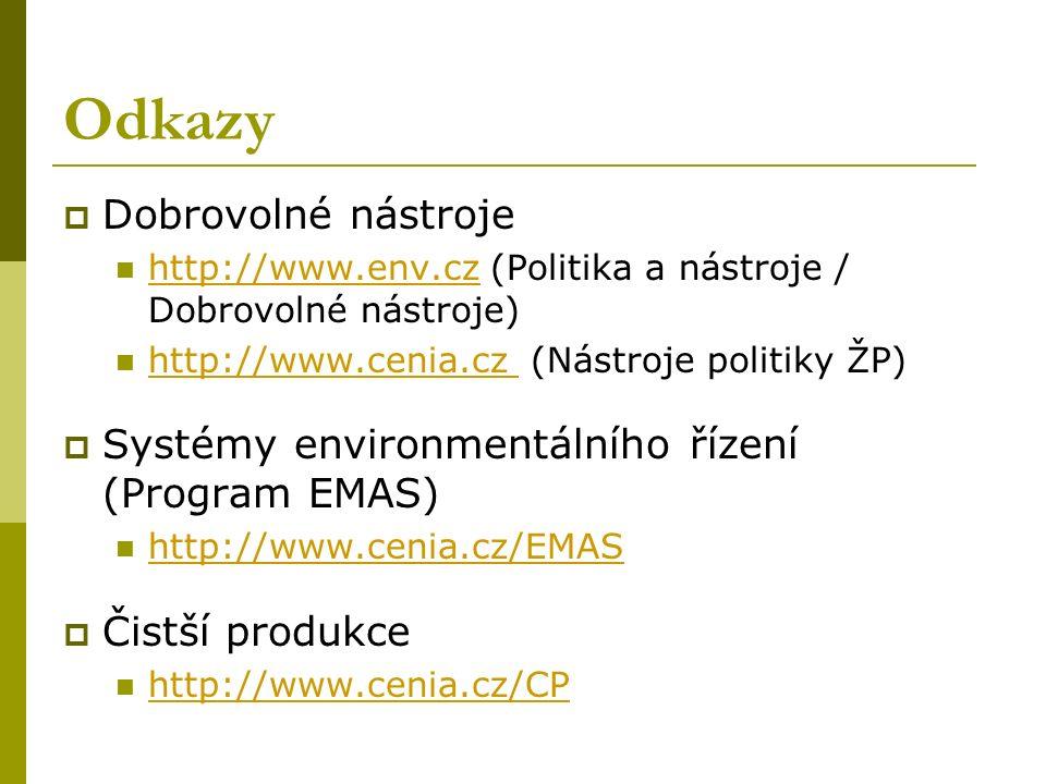 Odkazy  Dobrovolné nástroje http://www.env.cz (Politika a nástroje / Dobrovolné nástroje) http://www.cenia.cz (Nástroje politiky ŽP)  Systémy environmentálního řízení (Program EMAS) http://www.cenia.cz/EMAS  Čistší produkce http://www.cenia.cz/CP