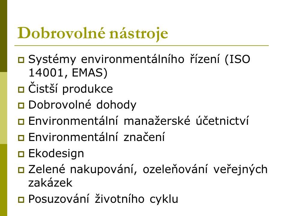 Dobrovolné nástroje  Systémy environmentálního řízení (ISO 14001, EMAS)  Čistší produkce  Dobrovolné dohody  Environmentální manažerské účetnictví  Environmentální značení  Ekodesign  Zelené nakupování, ozeleňování veřejných zakázek  Posuzování životního cyklu