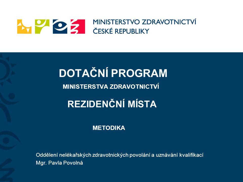 REZIDENČNÍ MÍSTA - Metodika ŽADATEL (ZZ) Projekt 2  Akreditované zdravotnické zařízení (AZ)  Neakreditované zdravotnické zařízení (NAZ)