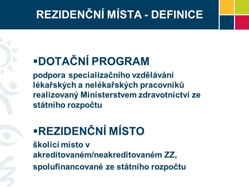 REZIDENČNÍ MÍSTA - DEFINICE  DOTAČNÍ PROGRAM podpora specializačního vzdělávání lékařských a nelékařských pracovníků realizovaný Ministerstvem zdravotnictví ze státního rozpočtu  REZIDENČNÍ MÍSTO školicí místo v akreditovaném/neakreditovaném ZZ, spolufinancované ze státního rozpočtu