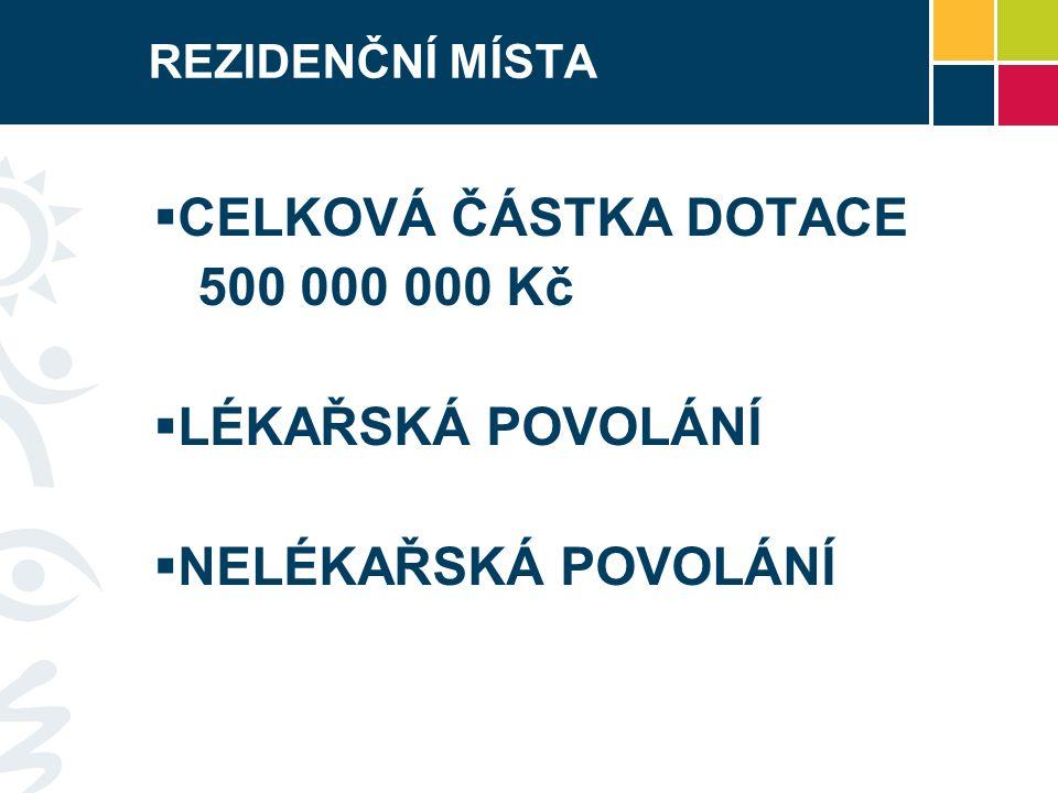 REZIDENČNÍ MÍSTA - LEGISLATIVA  Zákon č.218/2000 Sb.