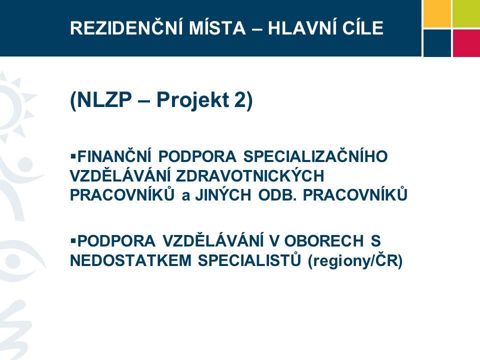 REZIDENČNÍ MÍSTA CÍLOVÉ SKUPINY (NLZP – Projekt 2) Pracovníci po získání odborné způsobilosti (§ 5 – 21a) zákona č.
