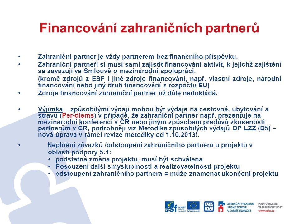 Financování zahraničních partnerů Zahraniční partner je vždy partnerem bez finančního příspěvku.