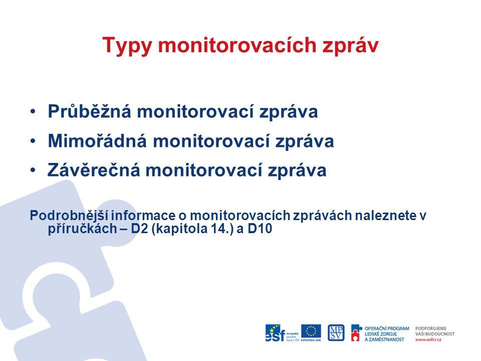 Typy monitorovacích zpráv Průběžná monitorovací zpráva Mimořádná monitorovací zpráva Závěrečná monitorovací zpráva Podrobnější informace o monitorovacích zprávách naleznete v příručkách – D2 (kapitola 14.) a D10