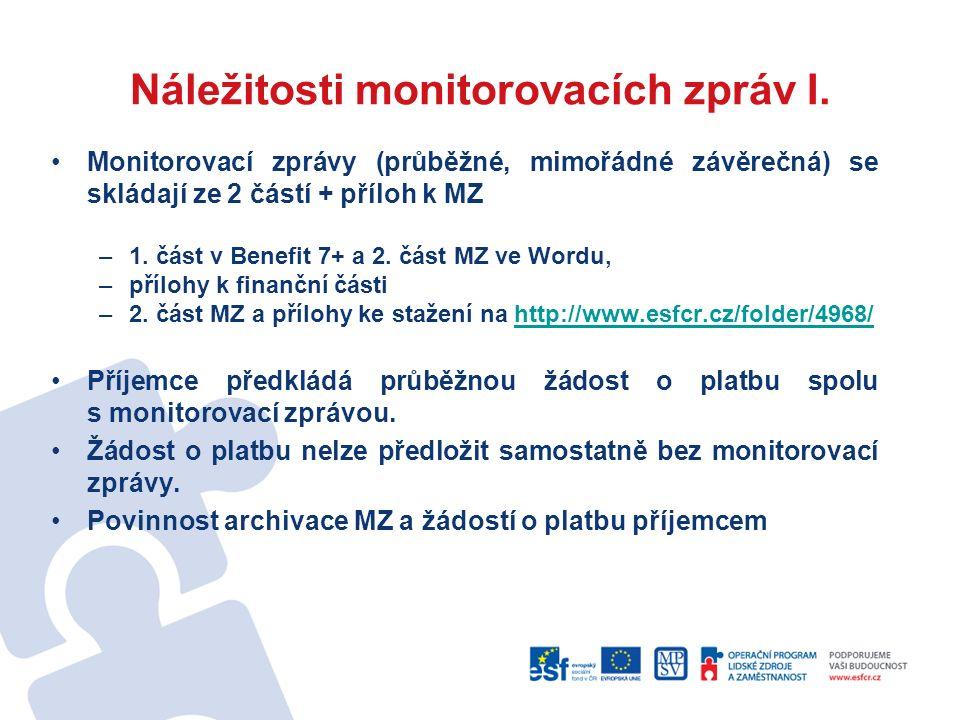 Náležitosti monitorovacích zpráv I.