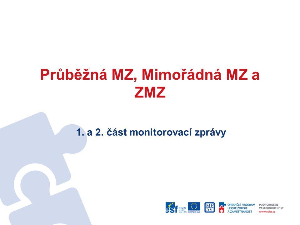 Průběžná MZ, Mimořádná MZ a ZMZ 1. a 2. část monitorovací zprávy