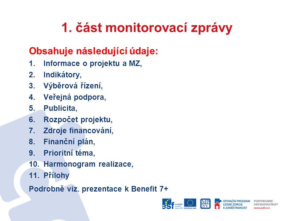 1. část monitorovací zprávy Obsahuje následující údaje: 1.Informace o projektu a MZ, 2.Indikátory, 3.Výběrová řízení, 4.Veřejná podpora, 5.Publicita,