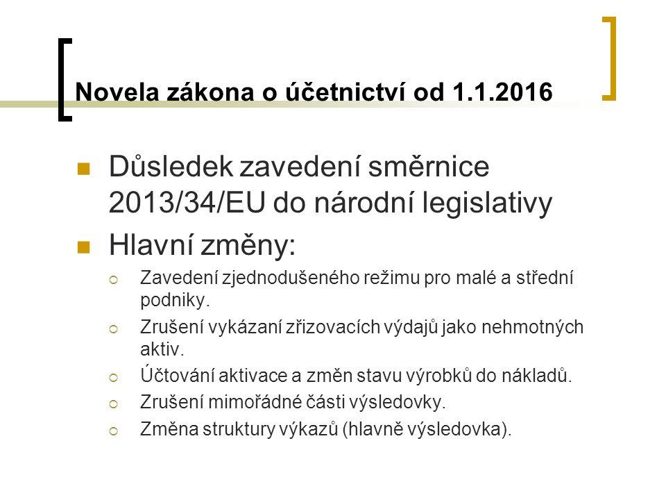 Novela zákona o účetnictví od 1.1.2016 Důsledek zavedení směrnice 2013/34/EU do národní legislativy Hlavní změny:  Zavedení zjednodušeného režimu pro malé a střední podniky.