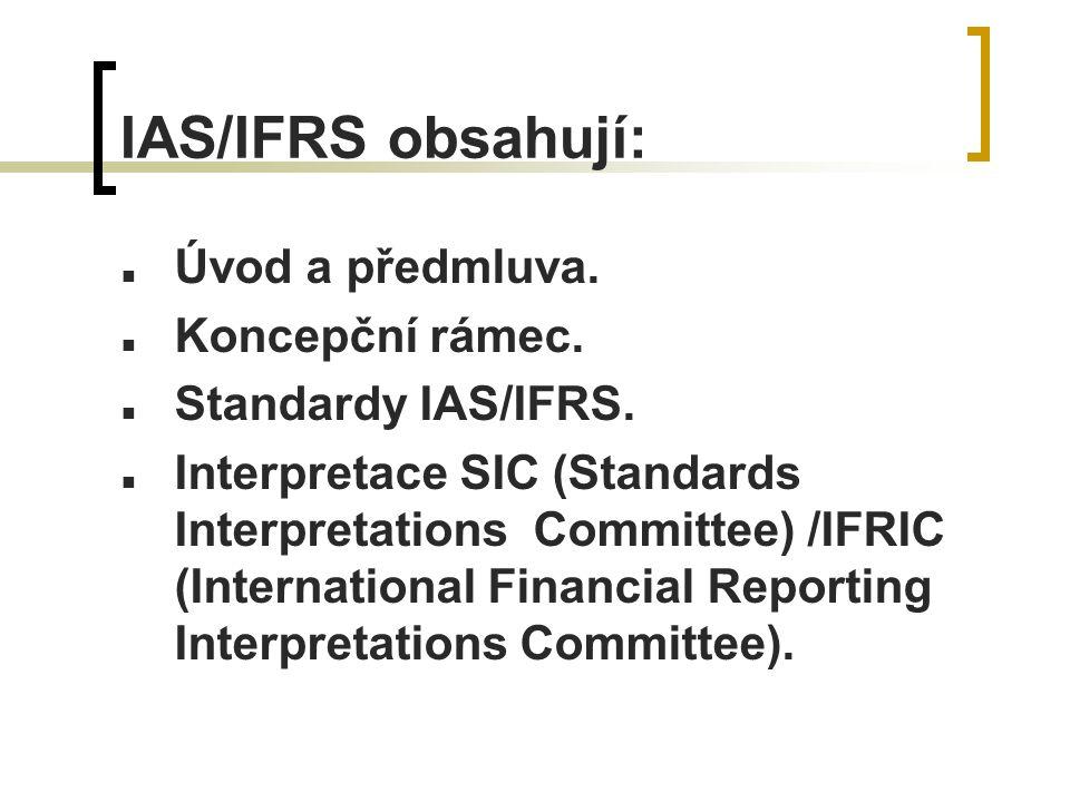 IAS/IFRS obsahují: Úvod a předmluva. Koncepční rámec.