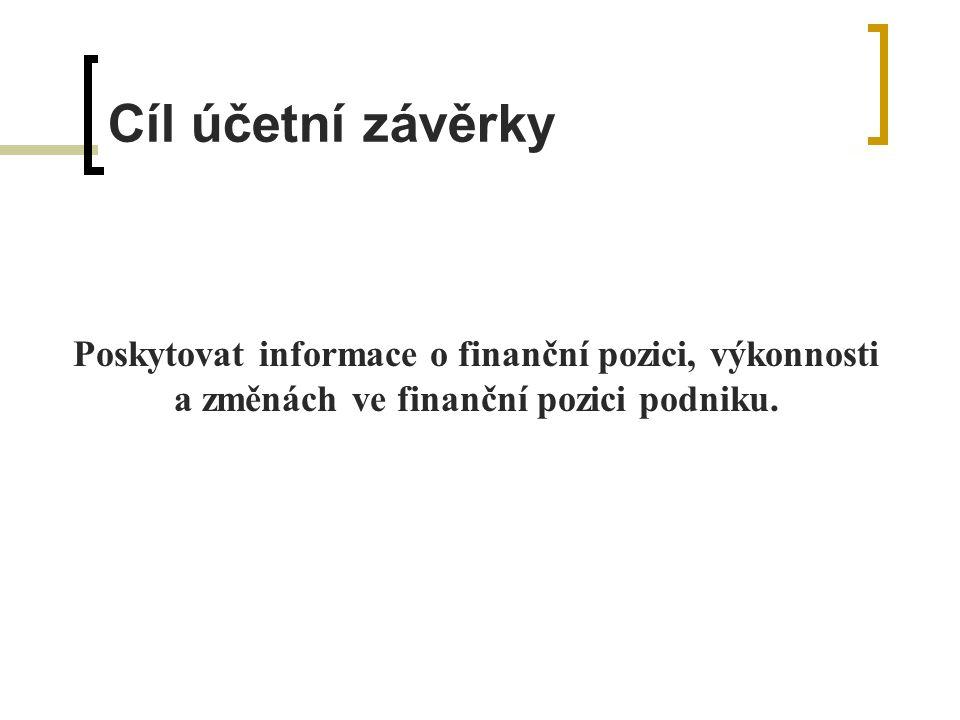 Cíl účetní závěrky Poskytovat informace o finanční pozici, výkonnosti a změnách ve finanční pozici podniku.