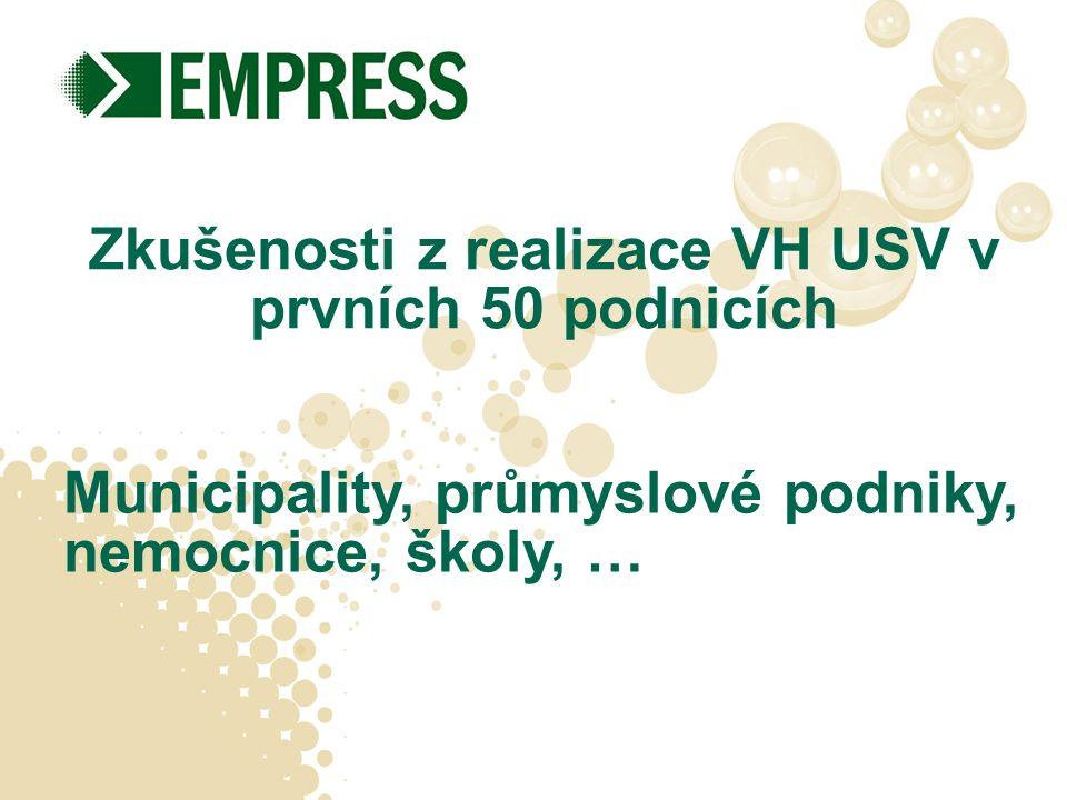Zkušenosti z realizace VH USV v prvních 50 podnicích Municipality, průmyslové podniky, nemocnice, školy, …