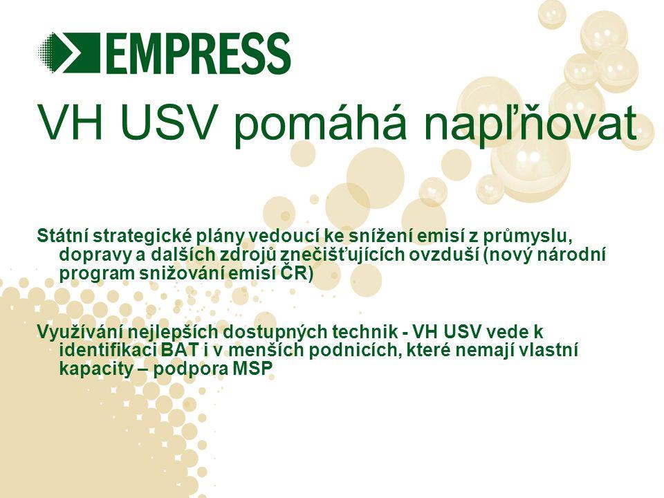 VH USV pomáhá napľňovat Státní strategické plány vedoucí ke snížení emisí z průmyslu, dopravy a dalších zdrojů znečišťujících ovzduší (nový národní program snižování emisí ČR) Využívání nejlepších dostupných technik - VH USV vede k identifikaci BAT i v menších podnicích, které nemají vlastní kapacity – podpora MSP