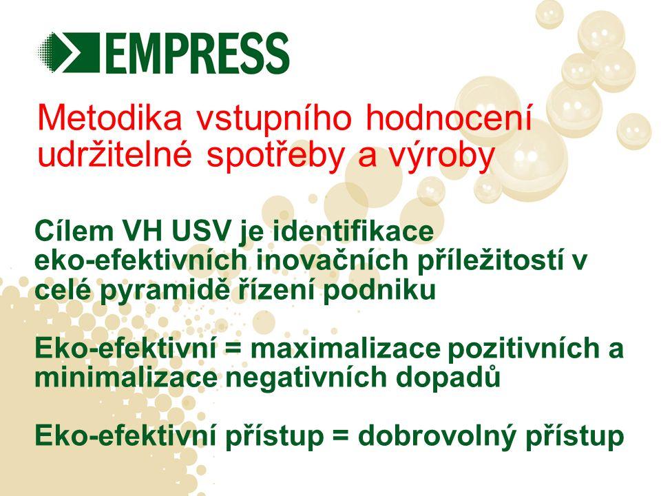 2 základní kroky VH USV 1)Screening podniku Vhodnost metodiky pro organizaci 2)Vstupní hodnocení Návrh projektu/opatření