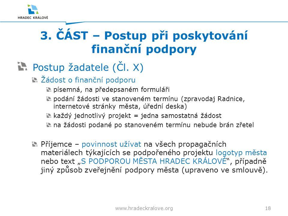 3. ČÁST – Postup při poskytování finanční podpory Postup žadatele (Čl.
