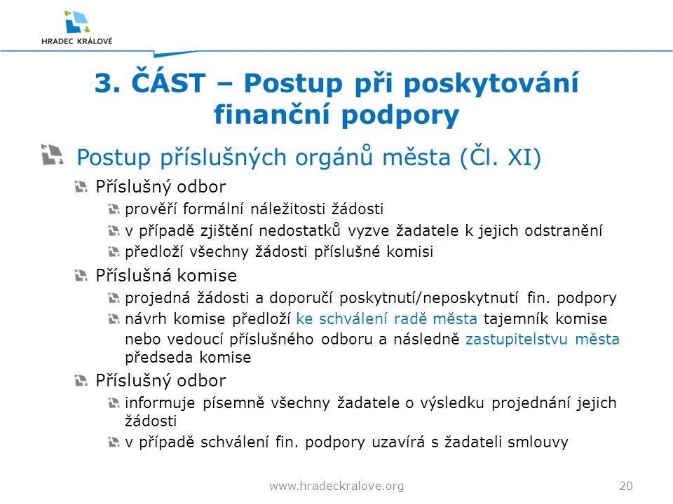3. ČÁST – Postup při poskytování finanční podpory Postup příslušných orgánů města (Čl.