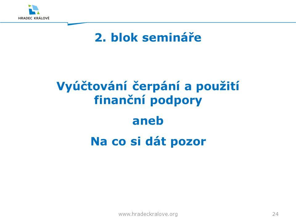 2. blok semináře 24www.hradeckralove.org Vyúčtování čerpání a použití finanční podpory aneb Na co si dát pozor