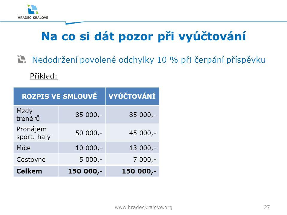 Na co si dát pozor při vyúčtování Nedodržení povolené odchylky 10 % při čerpání příspěvku Příklad: 27www.hradeckralove.org ROZPIS VE SMLOUVĚVYÚČTOVÁNÍ Mzdy trenérů 85 000,- Pronájem sport.