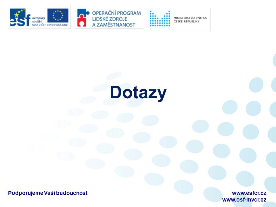 Dotazy Podporujeme Vaši budoucnostwww.esfcr.cz www.osf-mvcr.cz