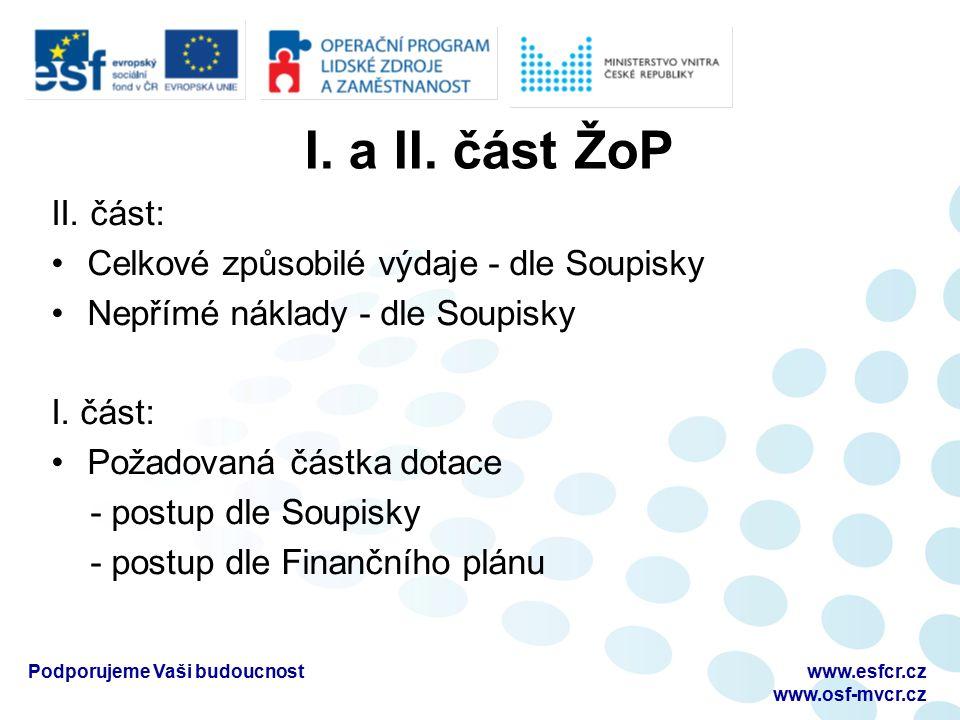 I. a II. část ŽoP II.